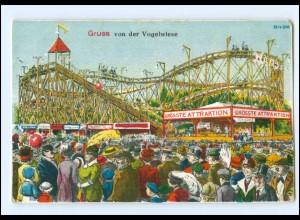 U3675/ Jahrmarkt Achterbahn Karussell Gruß von der Vogelwiese Ak 1924
