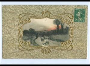 Y10014/ Seidenwebung Seide Jugendstil Prägedruck AK Schafe ca.1910