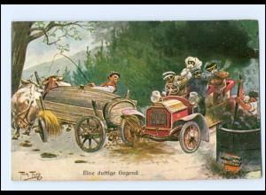 U4765/ Arthur Thiele Auto und Ochsen-Fuhrwerk AK 1911