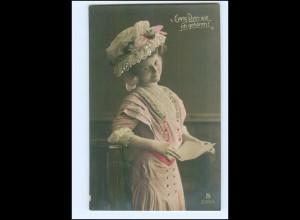 Y10069/ Junge Frau mit Hut schöne Foto AK 1909