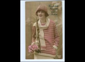 Y10053/ Junge Frau mit Hut Neujahr Foto Ak 1928