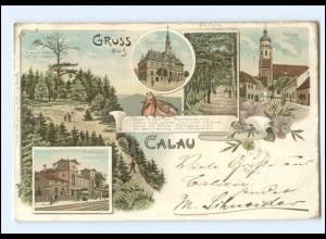 XX001710/ GRuß aus Calau mit Bahnhof Litho AK 1900 Schlesien