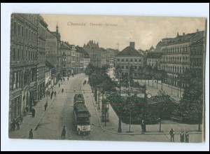 XX001689-091./ Chemnitz Theater-Straße Straßenbahn Ak 1917