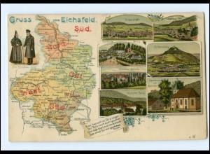 XX001699-373./ Gruß vom Eichsfeld Süd Litho Landkarten AK Thüringen 1912