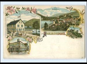 XX001713-6918/ Gruß aus Neckarsteinach Litho AK ca.1898