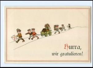 Y10242/ Kinder in Uniform Hurra, wir gratulieren Litho Ak ca.1914 WK1