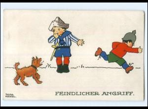 U3879/ Kinder in Uniform Hund Künstler Litho AK Dora Heckel ca.1915