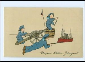 U3807/ Kinder in Uniform Marine Unsere blaue Jugend 1. Weltkrieg LItho AK