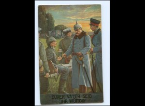 U3854/ Kaiser Wilhelm mit Verwundeten 1. Weltkrieg AK Rotes Kreuz