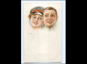 U3851/ Usabal Künstler AK junge Frau als Soldat ca.1914