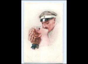 U3853/ Usabal Künstler AK Soldat küßt Frau 1. Weltkrieg Ak ca.1915