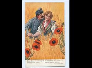 Y10674/ Soldat und junge Frau im Kornfeld Mohnblumen Ak ca.1914