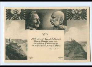 U3976/ Kaiser Franz Josef Kaiser Wilhelm WK1 AK 1914 Leopoldsberg + Gutenfels