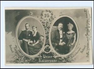 U3984/ Kaiser Wilhelm + Kaiserin Zur silbernen Hochzeit Foto AK 1906