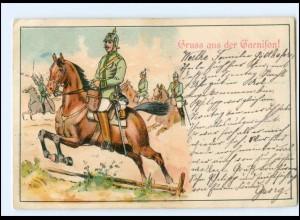 U3995/ Gruß aus der Garnison Soldaten zu Pferde Litho AK 1902