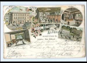 XX002041/ Gruß aus Altona Hamburg Hotel Kühnel Litho AK 1899