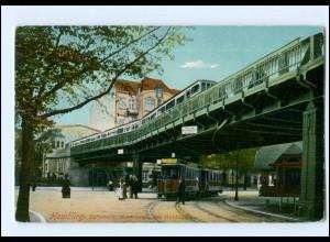 XX002043/ Hamburg Barmbeck Marktplatz Straßenbahn Hochbahn AK 1912