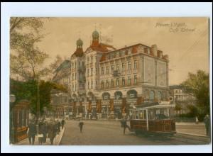 XX002251-085./ Plauen Café Trömel Straßenbahn 1915 AK