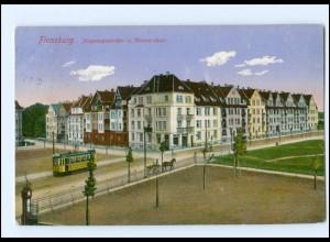 XX002265/ Flensburg Jürgensgaarder- u. Bismarckstr. Straßenbahn 1914 AK