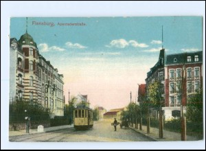 XX002266/ Flensburg Apenraderstraße Straßenbahn 1914 AK