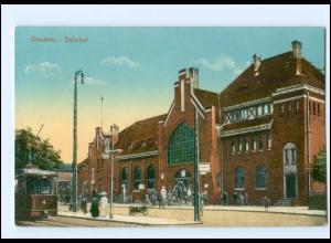 XX002320/ Westpr. Graudenz Bahnhof Straßenbahn 1915 AK