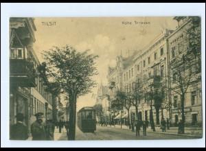 XX14734/ Tilsit Hohe Straße Straßenbahn Ostpreußen AK 1915