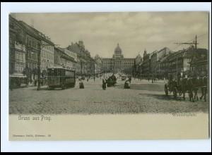 XX002561/ Tschechien Gruß aus Prag Wenzelsplatz Straßenbahn ca.1900 AK