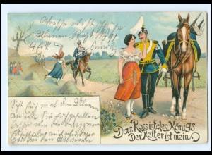 U4247/ Militär Soldat mit Frau Litho AK Pferde 1903