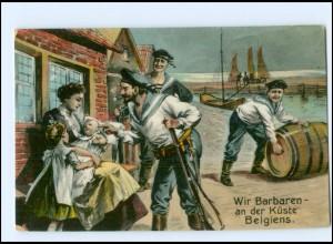 """Y10554/ 1. Weltkrieg AK Marine """"Wir Barbaren an der Küste Belgiens"""""""