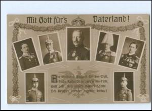 Y10680/ Mit Gott für`s Vaterland Kaiser Wilhelm und seine Söhne NPG Foto AK