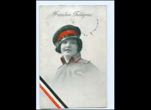 U4250/ Fräulein Feldgrau Frau in Uniform 1. Weltkrieg AK 1915