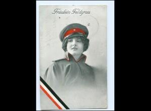 U4251/ Fräulein Feldgrau Frau in Uniform 1. Weltkrieg AK 1915