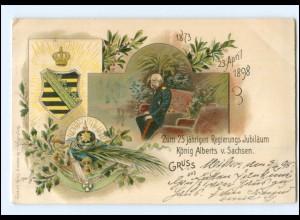 U4141/ König Albert von Sachsen 25. Reg.-Jubiläum Litho AK 1898
