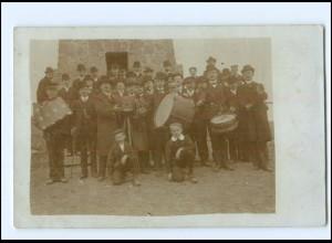 U4253/ Fotoapparat Fotograf Männer mit Trommel Foto AK Stempel: Lübeck 1910
