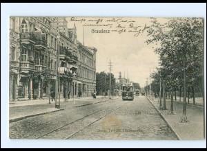 XX002743/ Graudenz Straßenbahn Oberer Teil der Lindenstr. AK 1906 Westpreußen