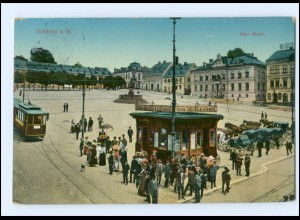 XX002857/ Gablonz a. N. Alter Markt Straßenbahn AK 1912