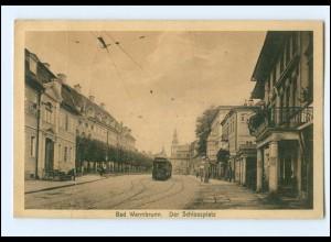 XX13074/ Bad Warmbrunn Schloßplatz Straßenbahn Schlesien AK 1929