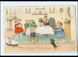 XX002839/ Künstler AK sign: LD, Kinder, Dackel , Puppen, Kuchen Litho 1920