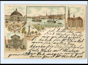 XX002916/ Hamburg Gruß aus Altona Litho AK 1898