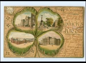 XX14739/ Gruß aus Altona Glück`s Klee Litho Prägedruck AK Hamburg 1903
