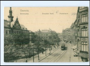 XX003077/ Chemnitz Poststraße Straßenbahn AK 1909