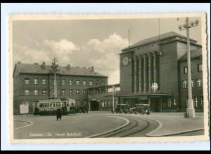 XX003116-080/ Zwickau Neuer Bahnhof Straßenbahn Foto AK 1939