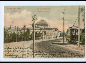 XX003048/ Libau Badeanstalt Straßenbahn Ak Lettland 1906