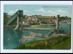 U4302/ Grodno gesprengte Eisenbahnbrücke AK Weißrussland ca.1915