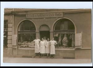 U4360/ Geschäft Laden Schlachterei Frisch u. Gefrierfleisch-Halle Foto AK