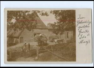 Y10779/ Landwirtschaft Heuernte Bauernhaus Privat Foto AK ca.1905