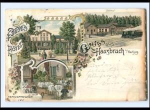 XX003222/ Hamburg Harburg Hausbruch Gruß aus Litho AK mit Bahnhof 1898