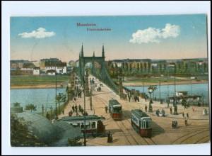 XX003453/ Mannheim Friedrichsbrücke Straßenbahn 1916 AK