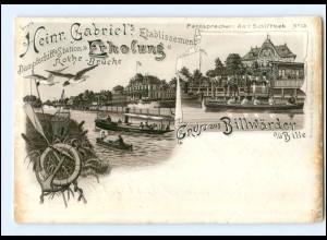 XX004570/ Hamburg Gruß aus Billwärder Billwerder Rothe-Brücke, Rudern Litho AK