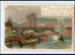 XX003253/ Berlin Alsen-Brücke Litho AK sign: Kley 1899